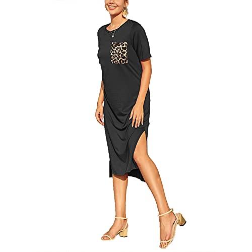 Primavera Y Verano Moda Casual para Mujer Cuello Redondo Color SóLido Estampado De Leopardo Bolsillos Dobladillo Suelto Abertura Manga Corta Vestido De Longitud Media Mujer