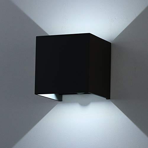 Klighten Outdoor wandlamp bewegingsmelder 12W LED wandverlichting, IP 65, wandlamp sensor voor tuin/hal/pad, 6000 K koud wit, zwart