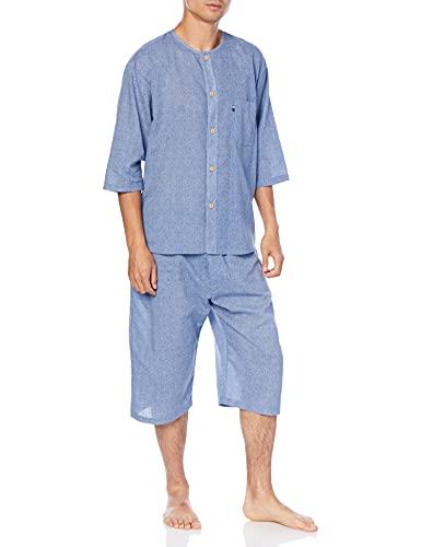 [グンゼ] パジャマ GUNZE 綿100% 寝るテコ クレープ 7分袖7分丈パンツ・パンツ前あき メンズ ブル- M