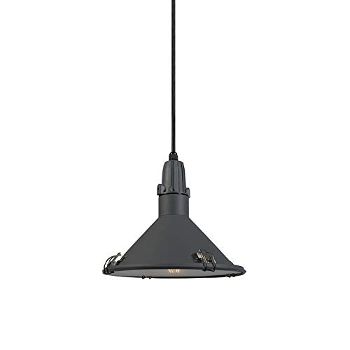QAZQA Industriel Lampe à Suspension/Lustre/Luminaire/Lumiere/Éclairage industrielle gris IP44 - Vida Aluminium/verre Anthracite Rond E27 Max. 1 x 26 Watt/Extérieur/Jardin