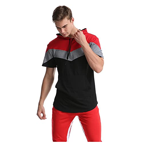 ASDFGHJKL Camiseta para Hombre, Manga Corta con Capucha Cosida, Camiseta Base De Tres Colores, Adecuada para Deportes, Fitness, Camping,Red a,M