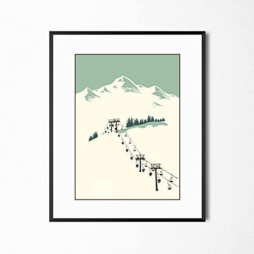 Yiwuyishi Arte Abstracto Retro Deportes de Invierno Decoración Ski Art Poster Lienzo Imagen de la Pared Ski Art Decoración para el hogar Personalizado 50x70cm P-722