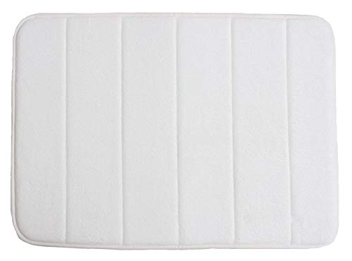 Memory Foam Bath Mat Non Slip Ultra Soft and Absorbent 17x24', Machine Washable Fast Dry for Shower, Vanity, Bath Tub, Sink, and Toilet-White