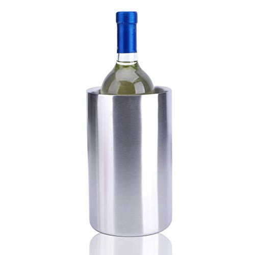 WWWANG Titular de la Botella Doble Pared con Aislamiento de Acero Inoxidable del refrigerador de Vino Almacenamiento pequeño, práctico y portátil (Color : Silver, Size : 11.8 * 118.*19.4cm)