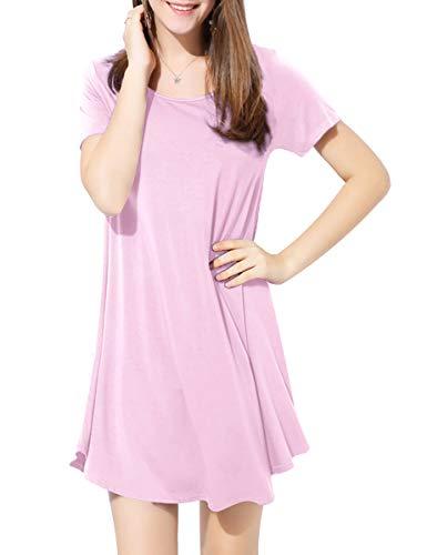 BELAROI Kleider Damen Sommerkleid Blusenkleid A Linie Kleid Casual Freizeitkleid Kurzarm Tunikakleid Lose Fit Strandkleid,Rosa,L