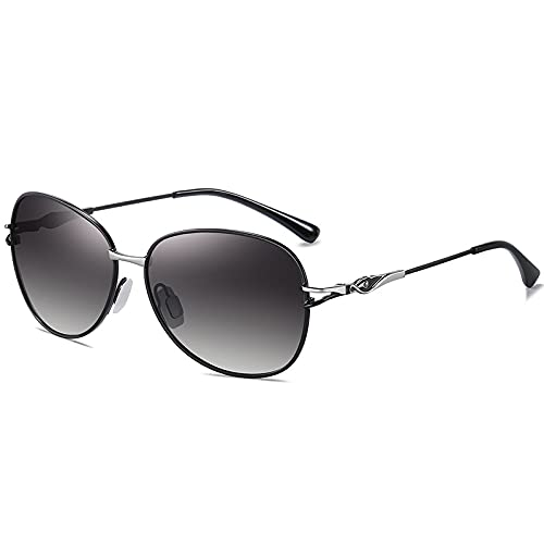 ZKP Gafas de sol clásicas de gran tamaño para mujer con lentes de protección polarizadas UV400. Gafas de sol de moda retro HD con sombra solar y protección UV (color: marco negro gris progresivo)