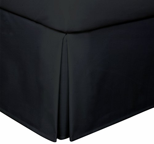 Crescent Bedding Pleated Bed Skirt Easy Care, Quadruple Pleated Design, Fabric Base Allows for Natural Draping, 15' Fall Covers Legs and Bed Frame (Queen, Black)