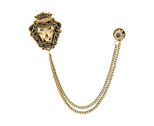Knighthood Golden Crowned Lion King Lapel Pin Badge Coat Suit Wedding Gift Party Shirt Collar Accessories Brooch for Men