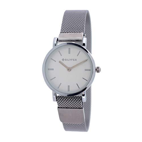 Reloj Bilyfer para Mujer con Correa Plateada y Pantalla en Blanco 3P567-PL