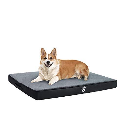 FRISTONE Orthopädisches Hundebett für Kleine Mittlere Große Hunde, Waschbar Hundematratze, Eierkistenform Schaum Hundekissen mit Abnehmbarem Bezug,XL,Schwarz