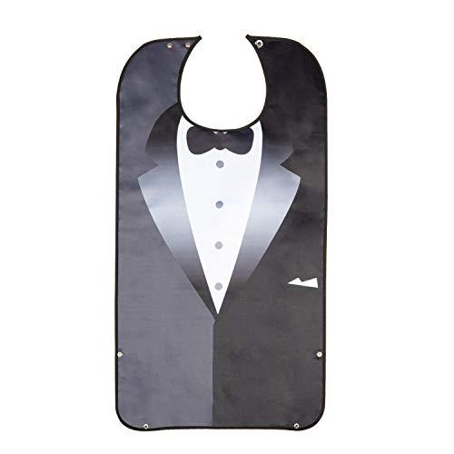 Comius Sharp Men's Waterproof Adult Bib, 1 Pezzi Bavaglini per Adulti,Tuxedo da uomo impermeabile per adulti, nero con papillon 3D, bavaglino lavabile, riutilizzabile, protezione per i pasti.