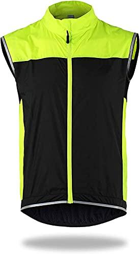 HYISHION Chaleco de Ciclismo Windstopper Transpirable Chaqueta Deportiva Sin Mangas MTB Bike Riding Chaleco Soft Shell Térmico para Hombre Running Ciclismo,Amarillo,AS*XXL =EU*XL