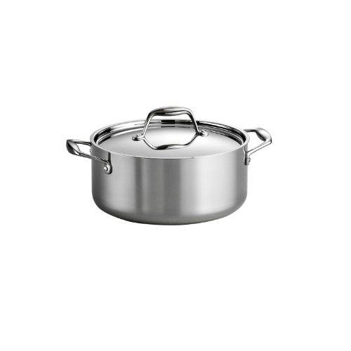 Tramontina 80116/025DS Gourmet Stainless Steel Induction-Ready Tri-Ply Clad Covered Dutch Oven, 5-Quart, NSF-Certified, Made in Brazil
