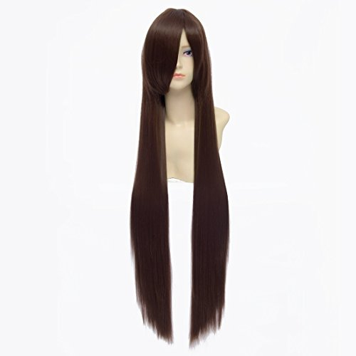 QIYUN.Z 100Cm The Brun Longue Ligne Droite Entierement Synthetique Cosplay Costume Perruque D'Anime Chaleur De Cheveux De Fibre Synthetique Resistant Pour Les Femmes