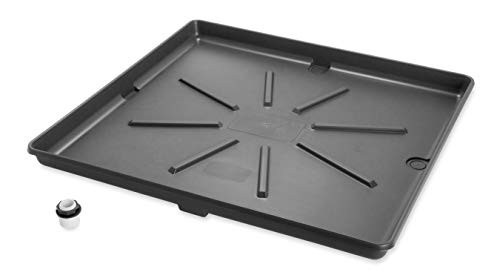 Camco 20750 Washing Machine Drain Pan with PVC Fitting, 30-Inch x 32-Inch, Graphite - Protects Your Floors from Washing Machine Leaks - Easy to Use