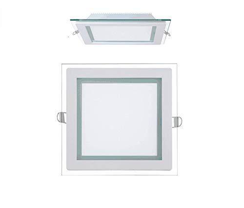 5x 15W LED Panel Glas Abdeckung Einbaustrahler Spot Deckenbeleuchtung Unterputz Einbauleuchte Neutralweiß 1150 lm 200x200 mm Eckig
