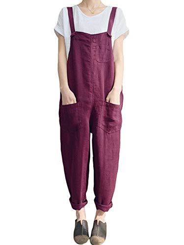 VONDA - Mono para mujer, ideal para el verano, de estilo informal, corte holgado, peto con tirantes finos, perneras anchas