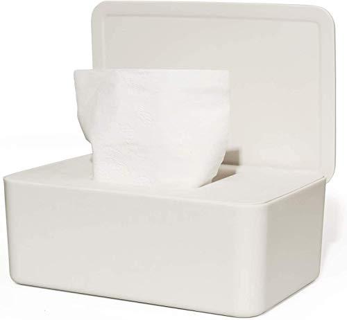 SDLAJOLLA Caja de pañuelos a prueba de polvo, caja de almacenamiento de pañuelos húmedos, dispensador de toallitas húmedas con tapa para escritorio de oficina en casa