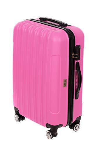 Birendy - Hartschalenkoffer Handgepäck 35004 Trolley mit 4 Rollen Zahlenschloss und Ausziehgriff - Größe L oder als Gepäck-Sets - pink