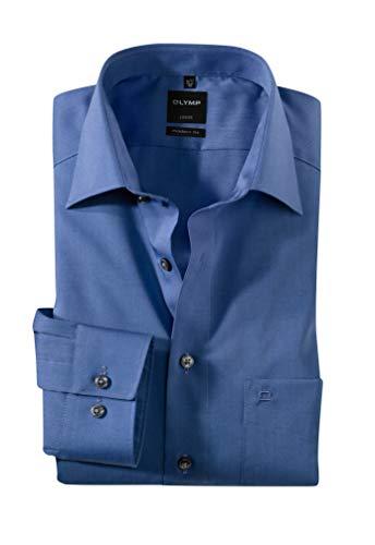 OLYMP Hemd slim line, bügelfrei blau New Kentkragen in langarm (64cm), Nachtblau, 44