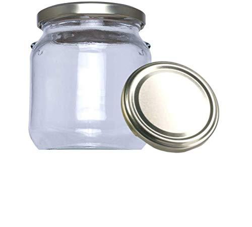 Tarros de Cristal con Tapa para chuches conservas pastas legumbres Miel Yogur conservas Frascos hermeticos de 580 ml con Tapa de Rosca Cerrado hermético almacenar Alimentos (16 Unidades)
