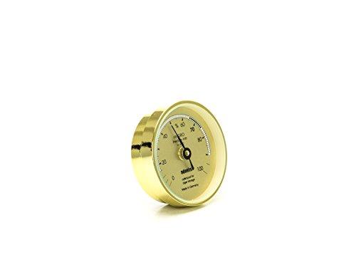 ADORINI Haarhygrometer in gold, Messung über Präzisions Synthetikhaar, analog, für höchste Genauigkeit