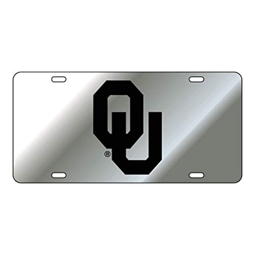 Oklahoma Sooners Laser Cut Inlaid Mirrored Silver Plate w/Black OU