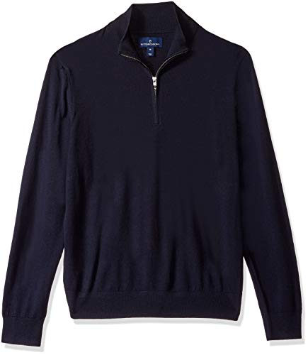BUTTONED DOWN Men's Italian Merino Wool Lightweight Cashwool Quarter-Zip Sweater, Midnight Navy, X-Large