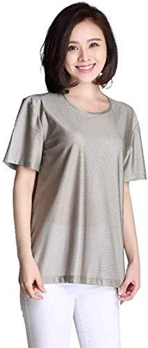 CHANG Ropa de Maternidad antirradiación,Chaleco de Fibra metálica Camisetas de Punto para Mujer para protección contra el Embarazo, Escudo WiFi 5G,Silver-XXL