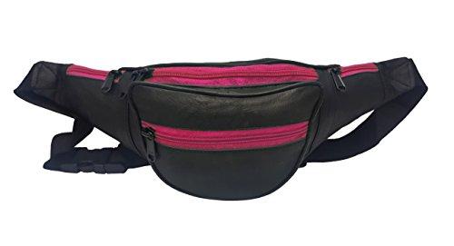 ODS:UK in vera pelle morbida in vita marsupio con 5scomparti per il tempo libero viaggi e vacanze, Black + Pink Zips