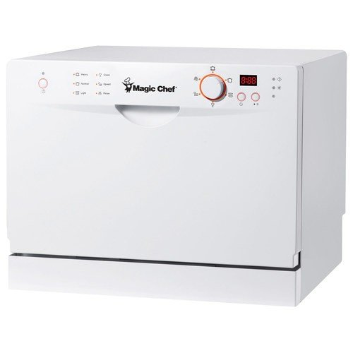 Magic Chef MCSCD6W3 6 Place Setting Countertop Dishwasher, White