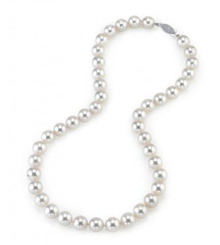 Weiße Japanische Akoya Perlenkette 9,5-10mm AAA Süßwasser Zuchtperlen Matinee Länge 45cm - Weißgoldverschluss