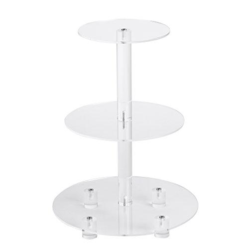 """YestBuy 3 Tier Round Cupcake Stand, Acrylic Cake stand Cupcake Tower Stand, Premium Cupcake Holder For 28 Cupcakes, Display for Pastry Wedding Birthday Party (6"""" between 2 layers)"""