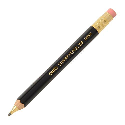 OHTO Mechanical Pencil Wood Sharp with Eraser 2.0, 2.0mm, Black Body (APS-680E-Black)