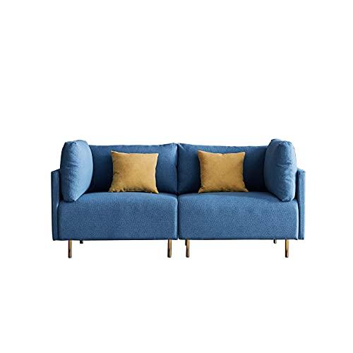 HAZYJT Sofá 2 plazas, sofá tapizado con reposabrazos de diseño Moderno, sofá con Cojines para apartamento pequeño, habitación de Invitados, habitación Juvenil, 188 cm, Azul