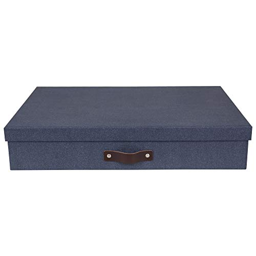 Bigso Box of Sweden Dokumentenbox für Unterlagen im A3-Format – Schreibtischablage mit Deckel und Griff – Aufbewahrungsbox aus Faserplatte und Papier in Leinenoptik – blau