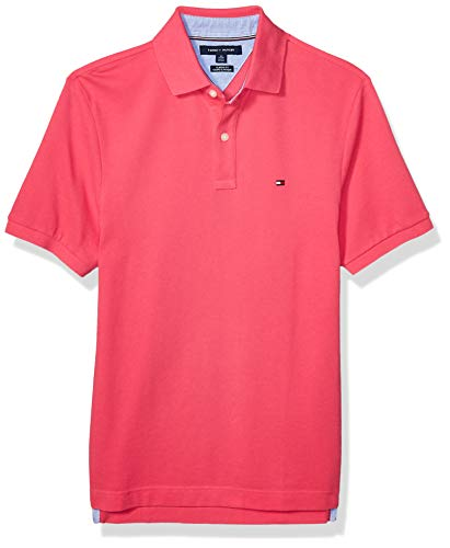 Tommy Hilfiger Men's Short Sleeve Polo Shirt in Classic Fit, Raspberry Sorbet, X-Large