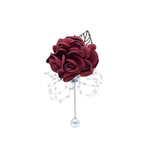 Art Flower Pulsera para madres, ramillete de cristal para novia, boda, flores de seda, flores de mano, color burdeos, rosa