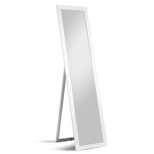 Standspiegel Emilia 40 x 160 cm Holzrahmen weiß Garderobenspiegel Moderner Standspiegel