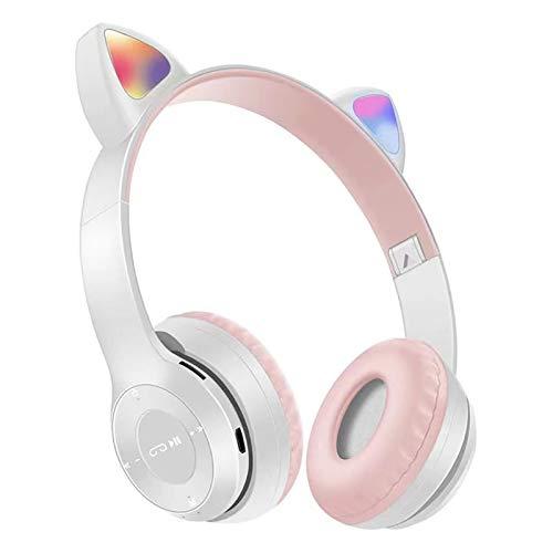 Auriculares inalámbricos para niños con Bluetooth LED iluminados para adultos orejas de gato sobre la oreja, auriculares plegables con micrófono limitador de volumen para teléfonos inteligentes
