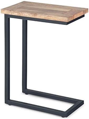 Best Simpli Home Skyler SOLID MANGO WOOD and Metal 18 inch Wide Rectangle Industrial C Side Table in Natu