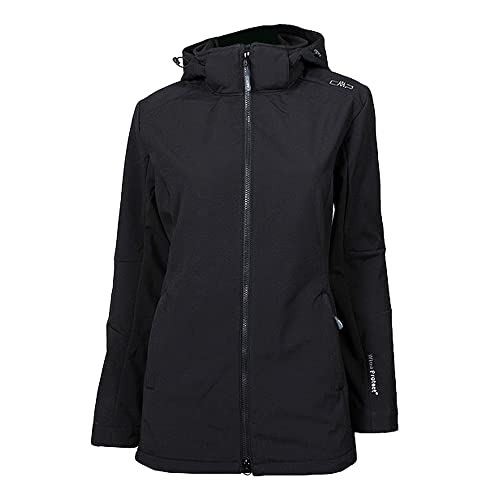 CMP Giacca Softshell Comfort Fit Long con Tecnologia Climaprotect WP 7.000, Donna, Nero, 40