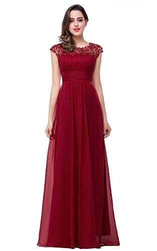 Babyonlinedress® Damen Abendkleid A-Linie langes Tuell Ballkleid Brautjungfer Cocktail Party Kleid Burgundy 36