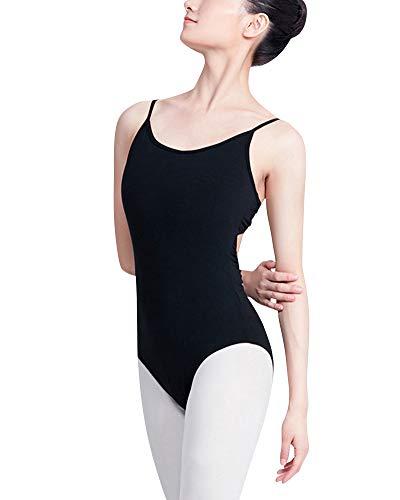 Shaoyao Slim Fit Maillot De Danza Espalda Abierta Honda Detras De La Cruz Gimnasia Ballet Leotardo Ropa De Practica Mujer Negro 2Xl