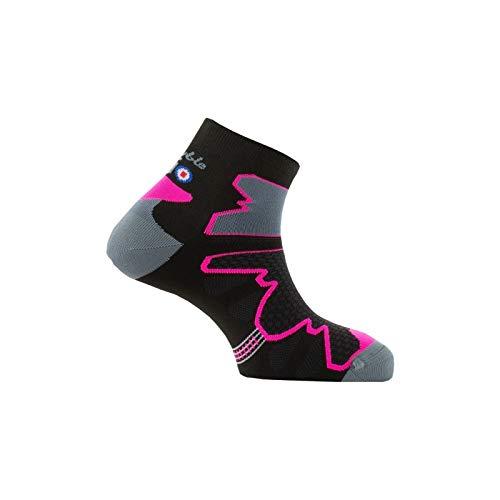 Thyo - Chaussettes tiges courtes Double Trek en microfibre Dryarn - couleur - Noir rose - Pointure - 39-40