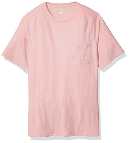 Amazon Essentials Men's Slim-Fit Slub Raglan Crew T-Shirt, Light Pink, Large