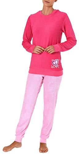 Damen Frottee Pyjama Langarm Schlafanzug mit Bündchen und Herz Motiv - 61695, Farbe:pink, Größe2:40/42