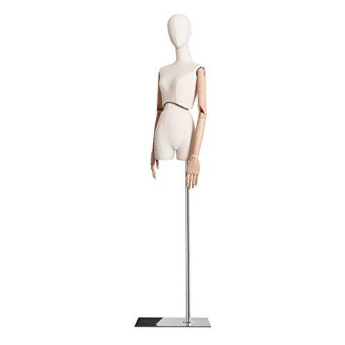 HAIPENG Maniquí De Costura Busto Hembra Cuerpo Vestido con 3 Secciones Articulación Brazos De Madera Ajustar Soporte por Ropa Joyería Monitor (Color : Silver)