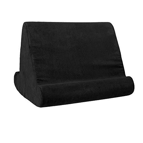 Multi Angle Soft Tablet Pillow Stand for tablet, Polyester Phone Pillow Lap Stand, Tablet Stand Pillow Holder, Pillow Pad Reading Stand, Lap Stand Mobile Phone Holde (Black)