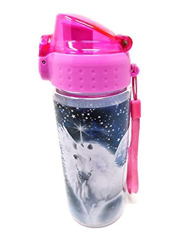 Botella de agua a prueba de fugas para niños, botella de agua irrompible, ligera, de Tritan y ácido carbónico, libre de BPA, 500 ml, para escuela, guardería, deportes (unicornio unicornio)